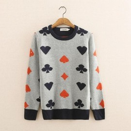 poker print sweater