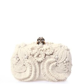 SKULL KNUCKLE CRYSTAL BEAD AND FEATHER EMBELLISHED BAGUETTE CLUTCH