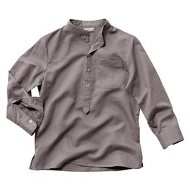 vertbaudet - Boy's Linen/Cotton Shirt with Mandarin Collar