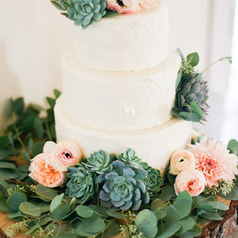 Wedding Cake - The Butter End White Wedding Cake with Ranunculus, Anemones, and Succulents Wedding