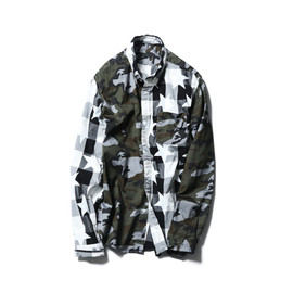SOPHNET. - MIX PATTERN B.D SHIRT