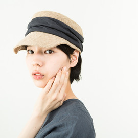 mature ha. - jute × linen drape work cap