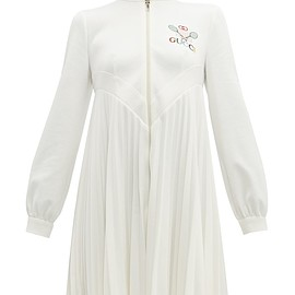 GUCCI - Tennis logo-embroidered pleated dress