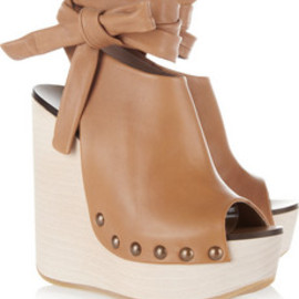 Chloe - Studded leather wedge sandals