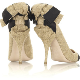 miu miu - Raffia bow detailed pumps