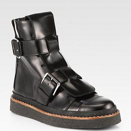 MARNI - Leather Double-Buckle Military Boots (2013/14 AW )