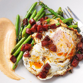 Sautéed Asparagus with Chorizo - Fried Eggs and Smoked Paprika Allioli