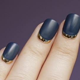 Unknown - Metallic reverse french w/ the matte navy