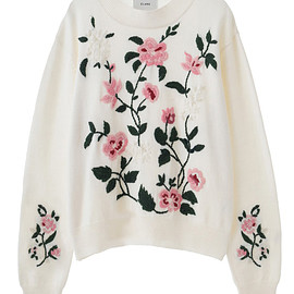 clane - EMBROIDERY FLOWER KNIT