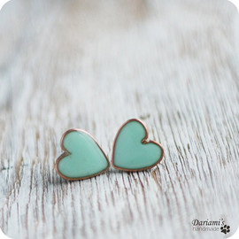 Dariami - Post earrings - Mint green Hearts