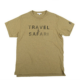 ENGINEERED GARMENTS - Printed Cross Crew Neck T-shirt-Travel-Khaki