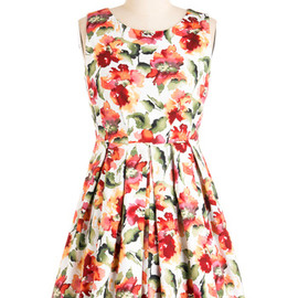 ModCloth - Demure and Simple Dress:red flower
