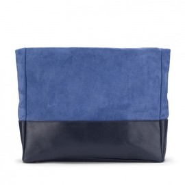 TUSTING - Arun Large Leather Clutch in Cobalt