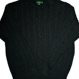 J.CREW - Vintage 90's J Crew Mens Navy Cable Knit Sweater Size Medium