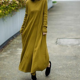 Long sweater dress - Solid color Long Maxi dresses, Loose knitted dress, Long sleeve dress, Grass green Sweater dress
