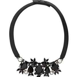 GIVENCHY - LEATHER NECKLACE WITH CRYSTALS