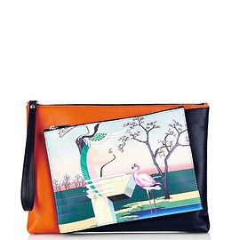 MARY KATRANTZOU - Flamingo-print detachable leather clutch
