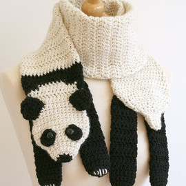 PDF Crochet Pattern for Panda Bear Scarf - Animal Woodland Warm DIY Fashion Tutorial Winter Fall Autumn